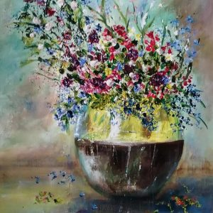flower vase oil on canvas