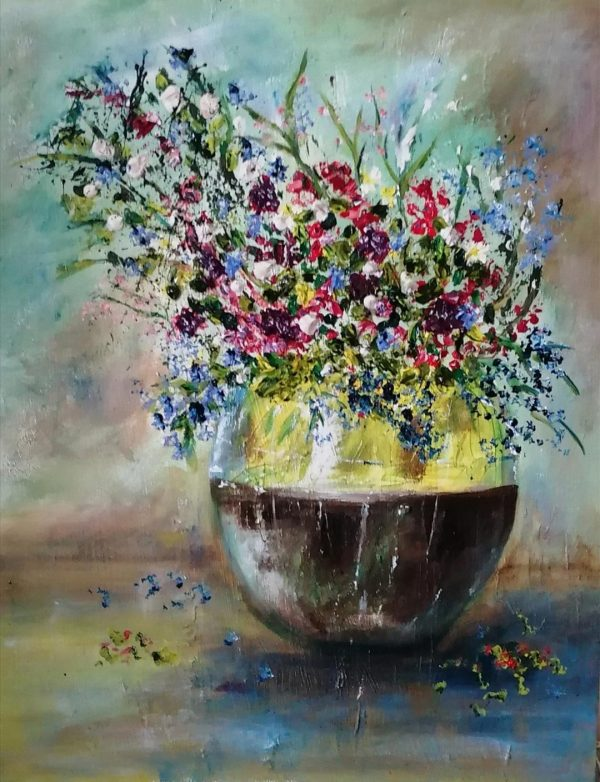 flower vase oil on canvas